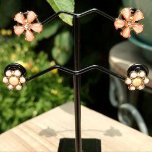Flower stud earrings 2 pair